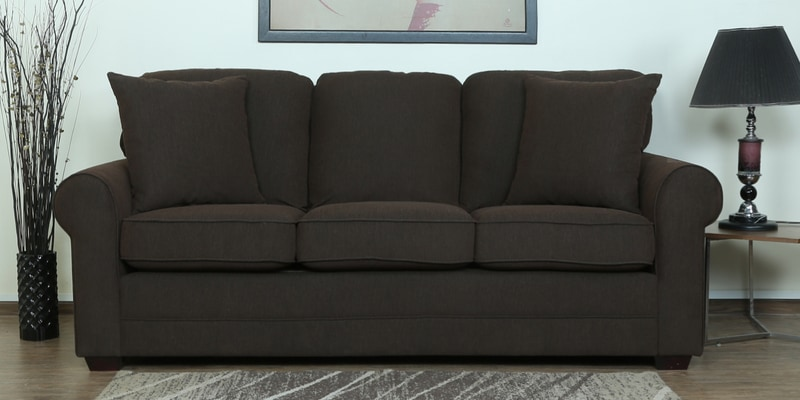 Madeira Three Seater Sofa in Chestnut Brown Colour by CasaCraft