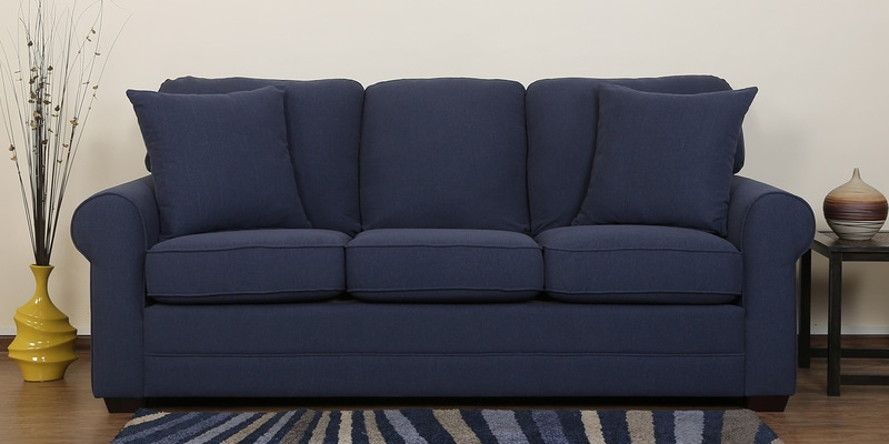 Madeira Three Seater Sofa in Navy Blue Colour by CasaCraft