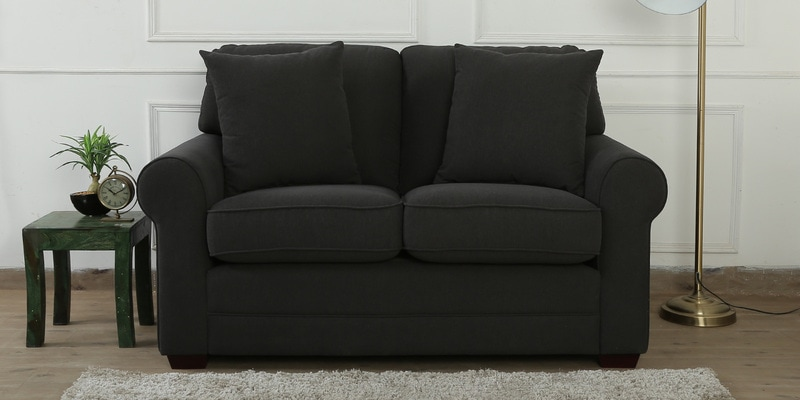 Madeira Two Seater Sofa in Charcoal Grey Colour by CasaCraft