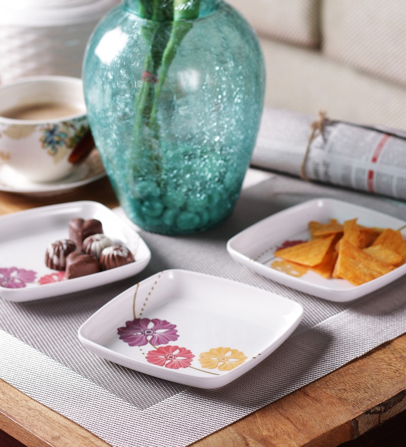 Machi Floral Munchie Melamine Snack Plate - Set Of 6