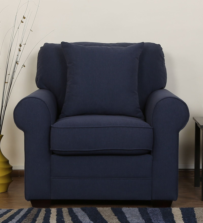 Madeira One Seater Sofa in Navy Blue Colour by CasaCraft