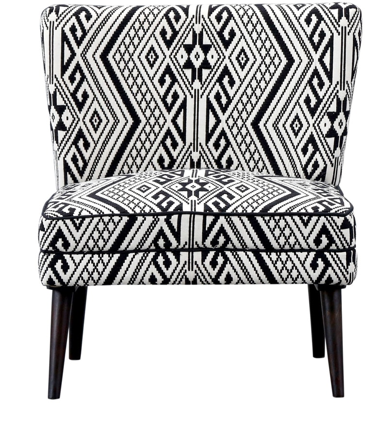 Buy Madigan Accent Chairs In White Black Colour By Bohemiana
