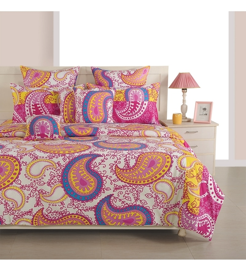 Magenta Cotton King Size Bedsheet - Set of 3 by Swayam