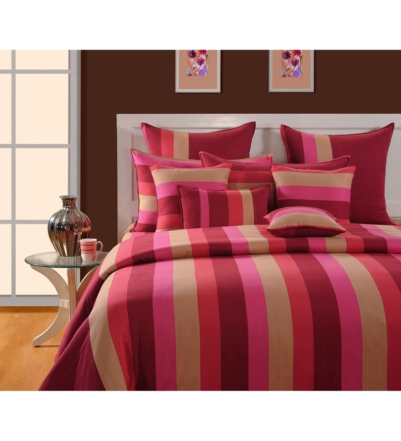 Magenta Cotton Single Size Bedsheet - Set of 2 by Swayam