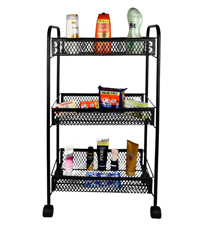 Magna Antique Look Steel Black Home Storage Trolley