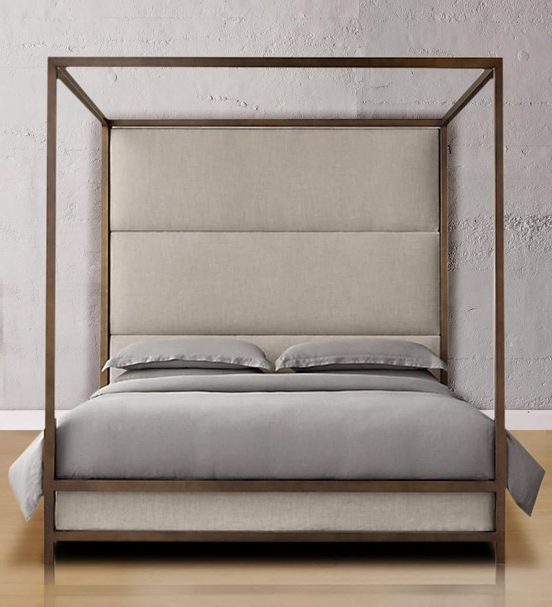 Majestic Canopy Full Back King Size Poster Bed in Golden Finish by Asian Arts