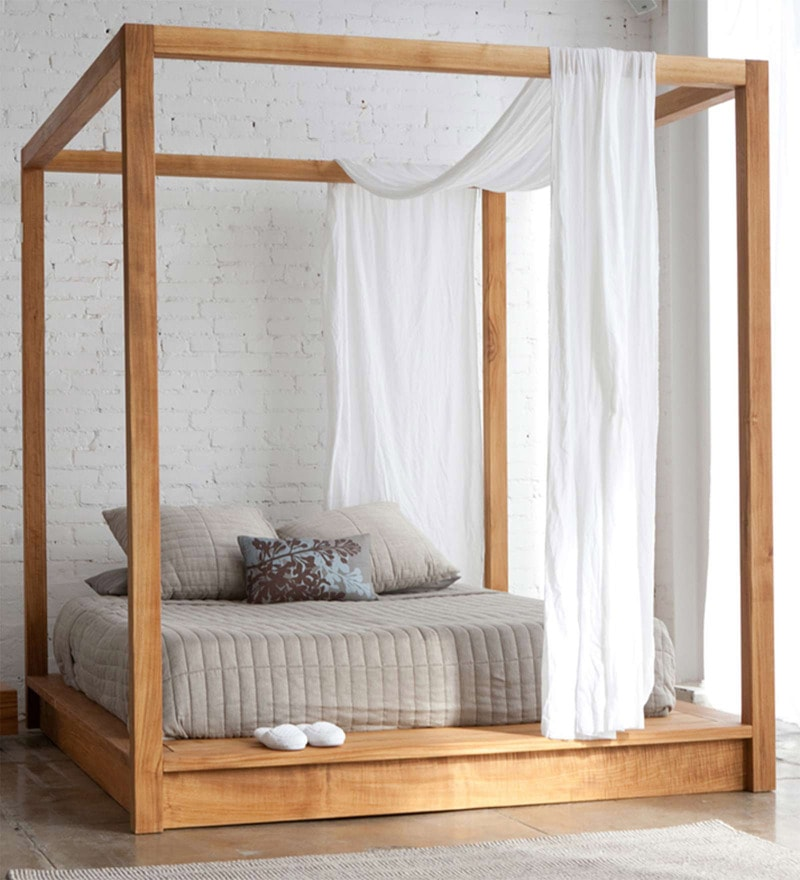 Majestic Pine Wood Canopy King Size Poster Bed in Natural Finish by Asian Arts