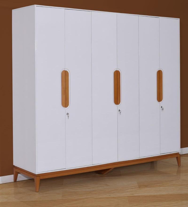 Malta Six Door Wardrobe in White & Brown Finish by Evok