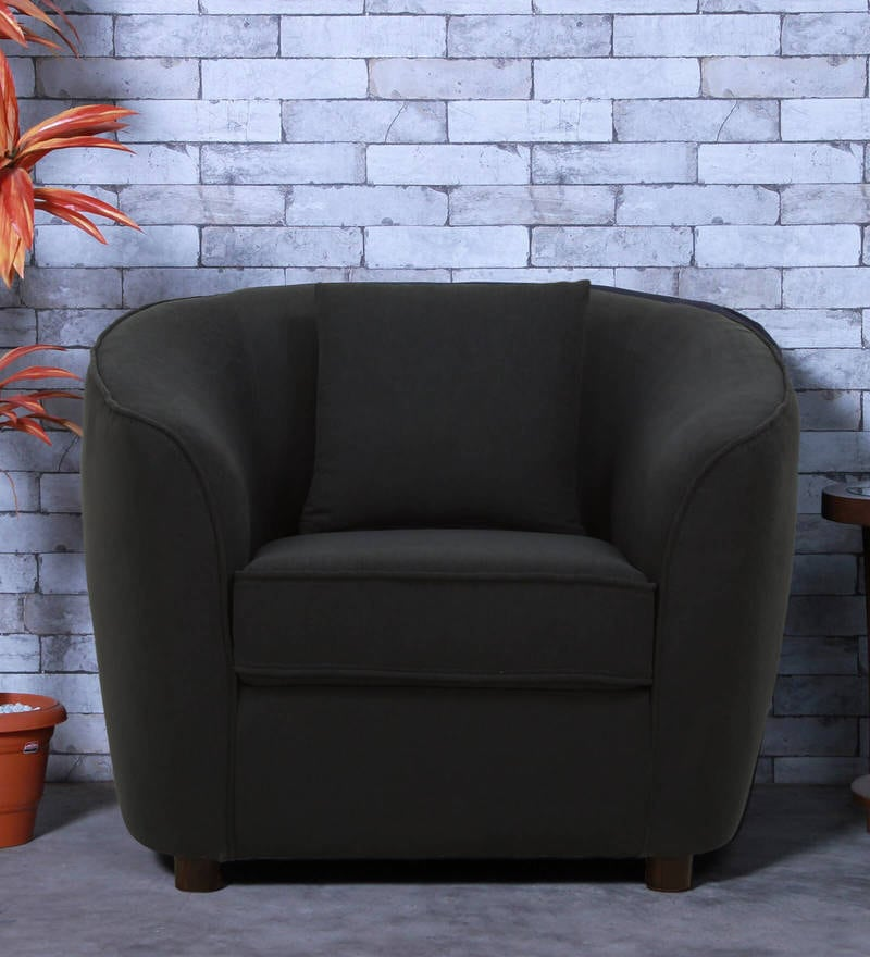 Mamore One Seater Sofa in Charcoal Grey Color by CasaCraft