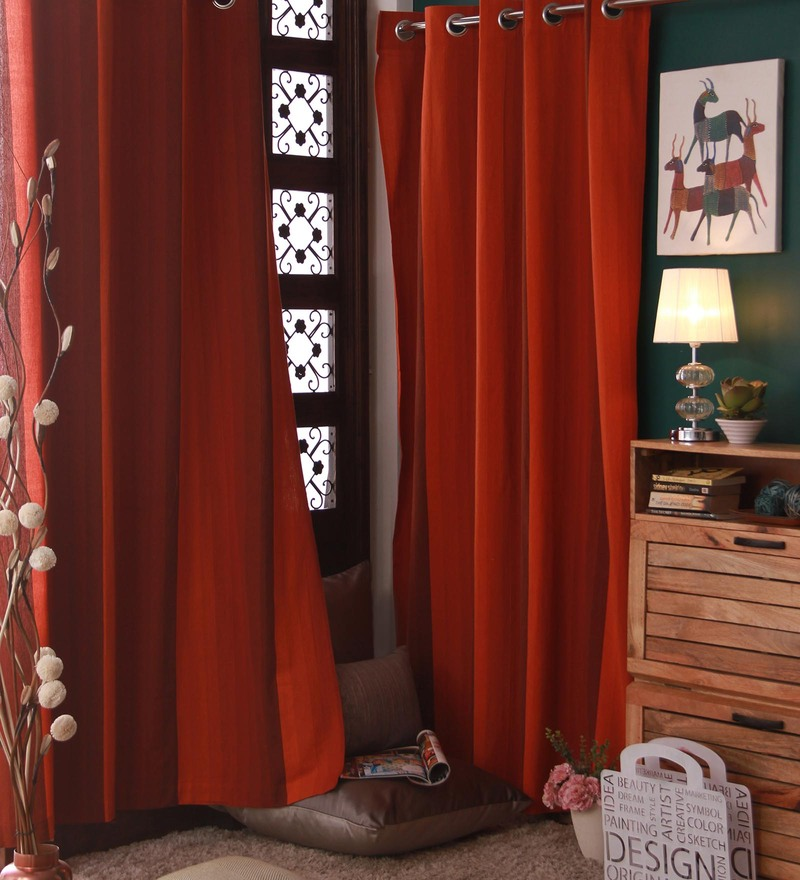 Red Cotton Curtain by Marigold