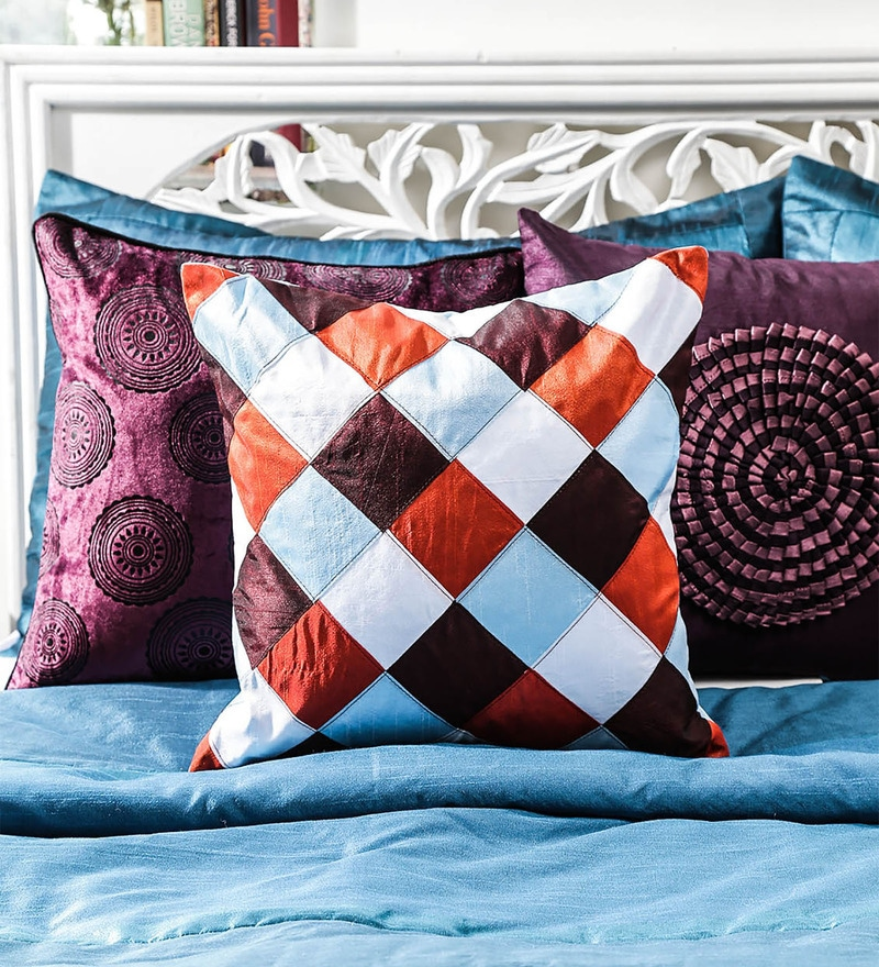 Multicolor Duppioni 16 x 16 Inch Checkered Cushion Cover by Mapa Home Care