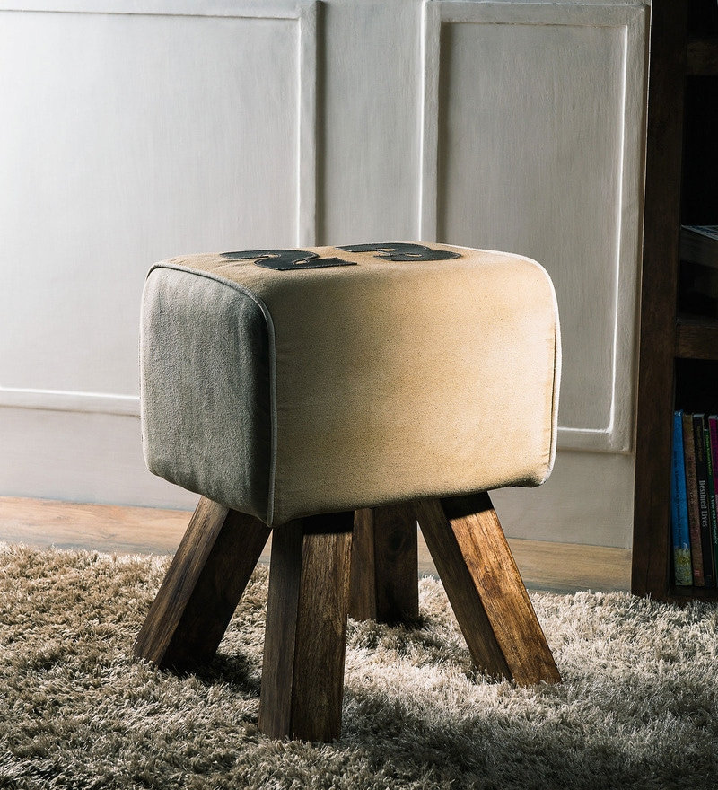 Fergie Stool in Provincial Teak Finish by Bohemiana
