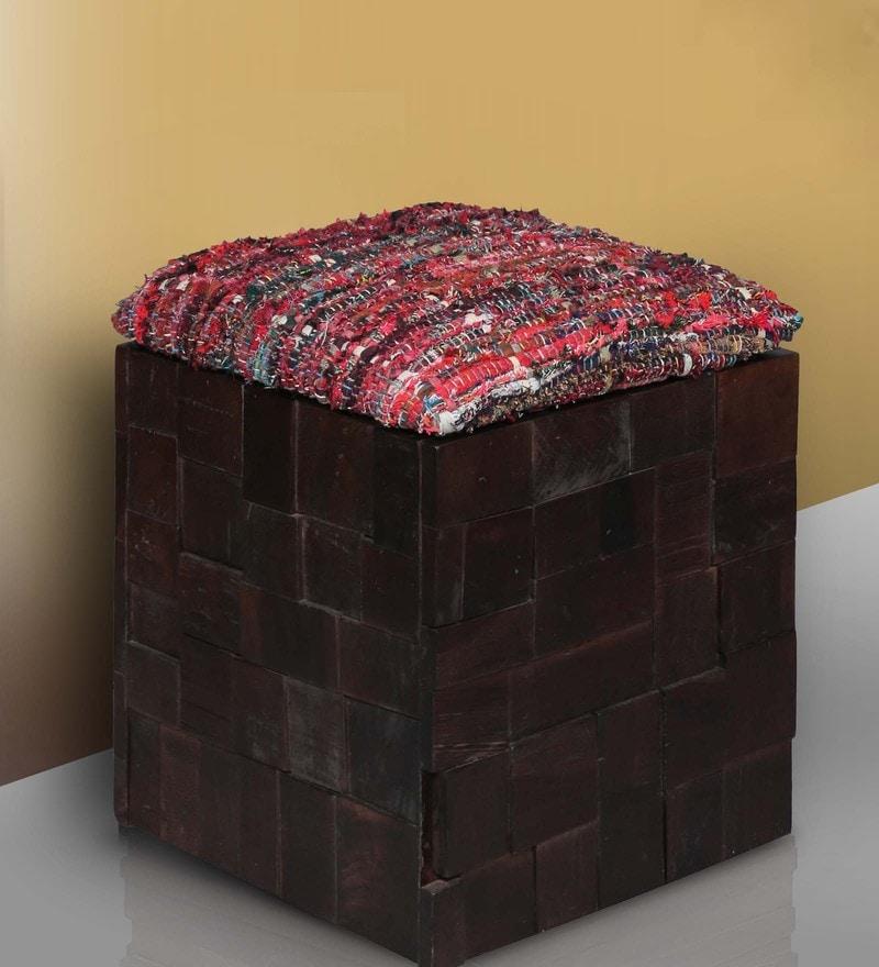 Marbella Red Fabric Storage Pouffe in Warm Chestnut Finish by Woodsworth