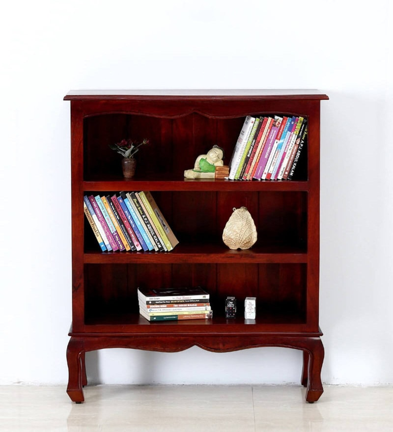 Margaret Book Shelf Cum Display Unit in Honey Oak Finish by Amberville