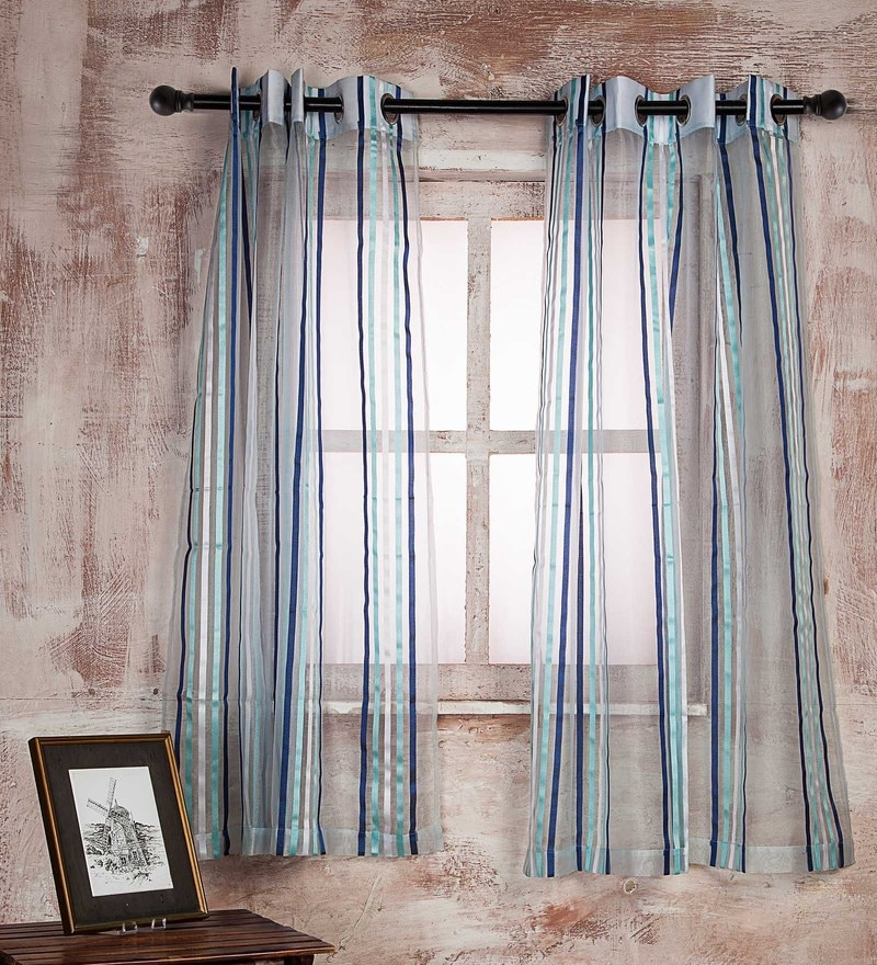 Blue Polyester Curtain - Set of 2 by Marigold