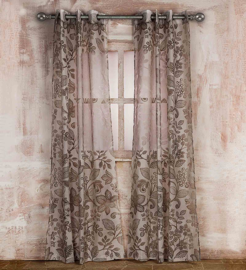Brown Poly Cotton 84 x 43 Inch Floral Brasso Print Door Curtain by Marigold