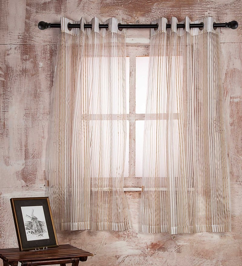 White Polyester Curtain - Set of 2 by Marigold
