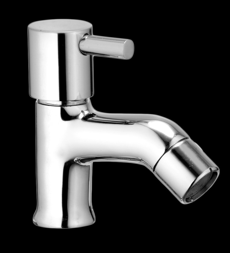 Marine Vital Silver Brass Pillar Cock Faucets - Set of 2