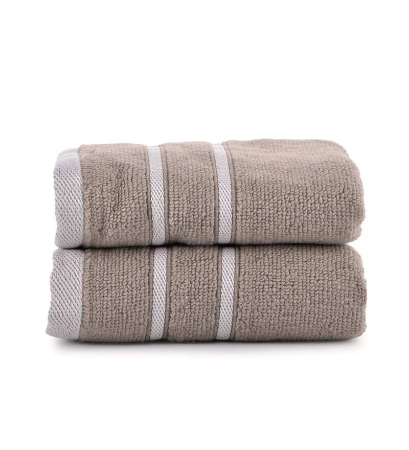 Beige Cotton Simply Soft 16 x 24 Hand Towel - Set of 2 by Mark Home