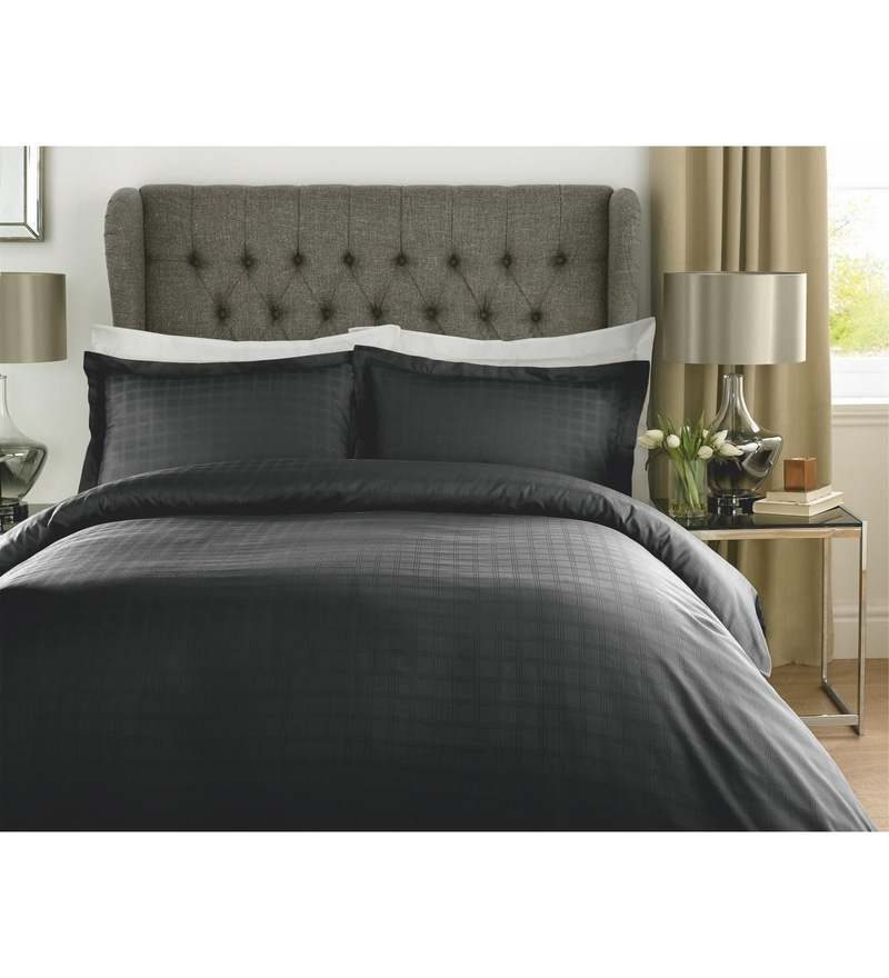 Black Checks Cotton King Size Bed Sheet - Set of 3 by Mark Home