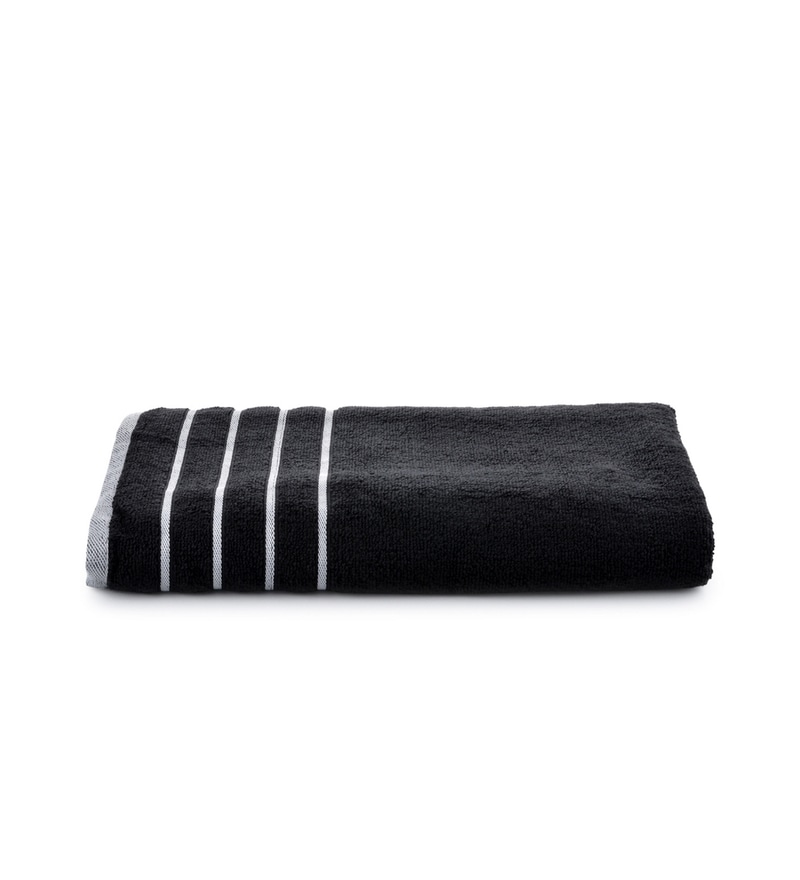 Black Cotton Simply Soft 28 x 59 Bath Towel by Mark Home