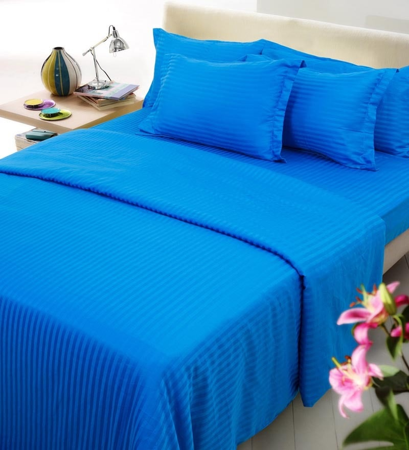 Blue Solids Cotton Single Size Fitted Bed Sheet Set - Set of 4 by Mark Home