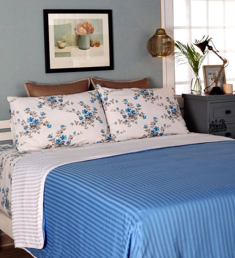 Blue Cotton Queen Size Dohar by Mark Home