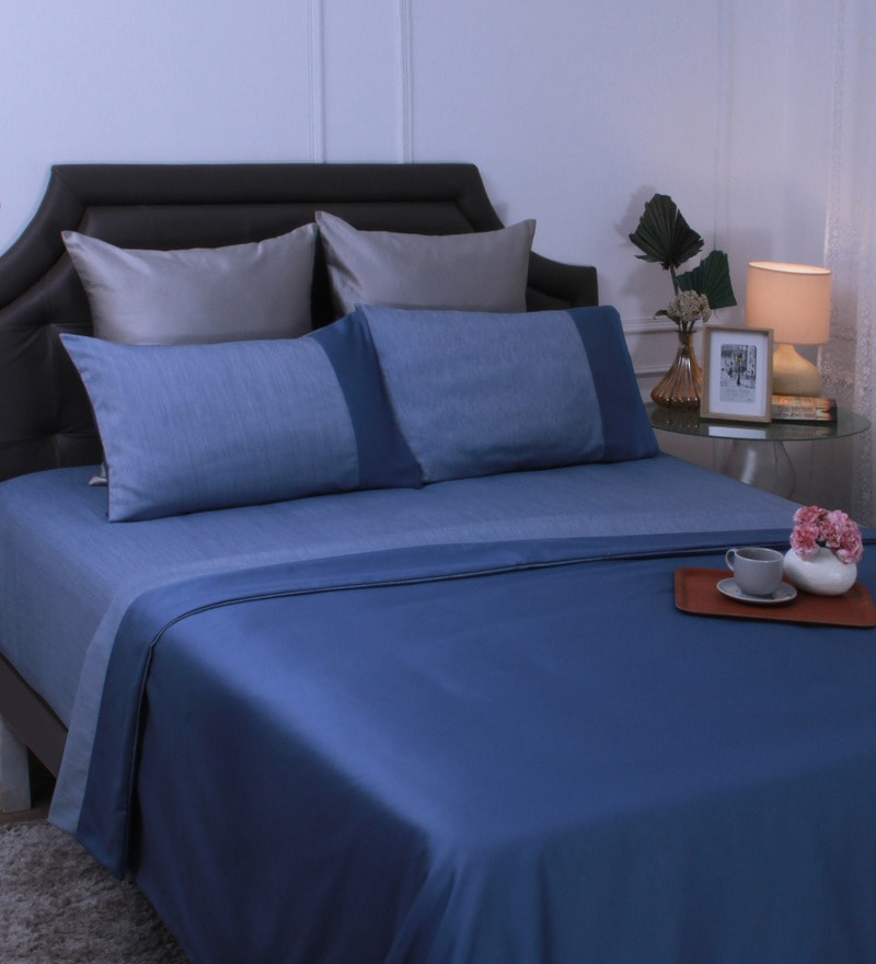 Blue Reversible King Size Bedsheet - Set of 6 by Mark Home
