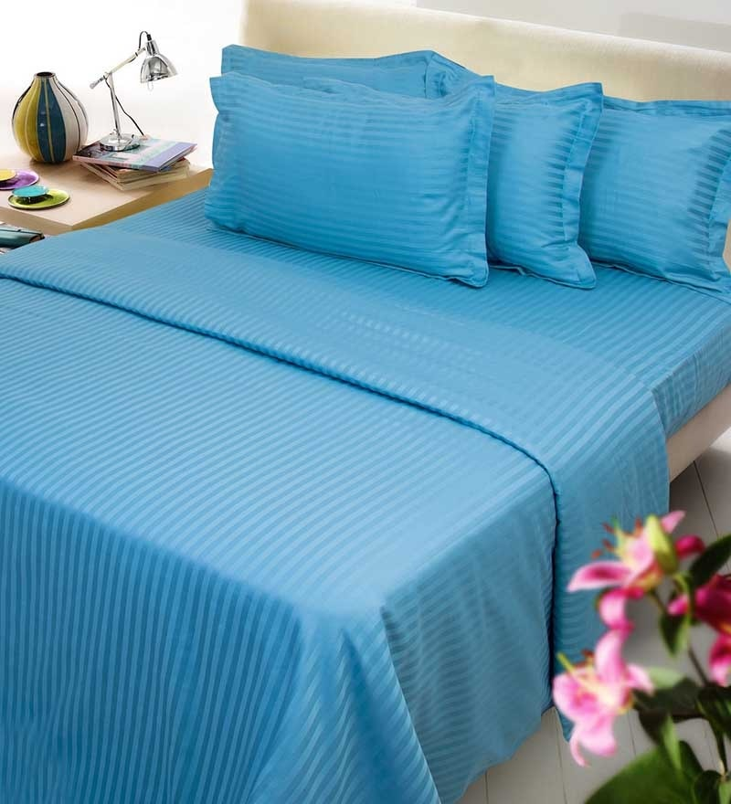 Royal Blue Cotton Queen Size Fitted Bed Sheet - Set of 3 by Mark Home