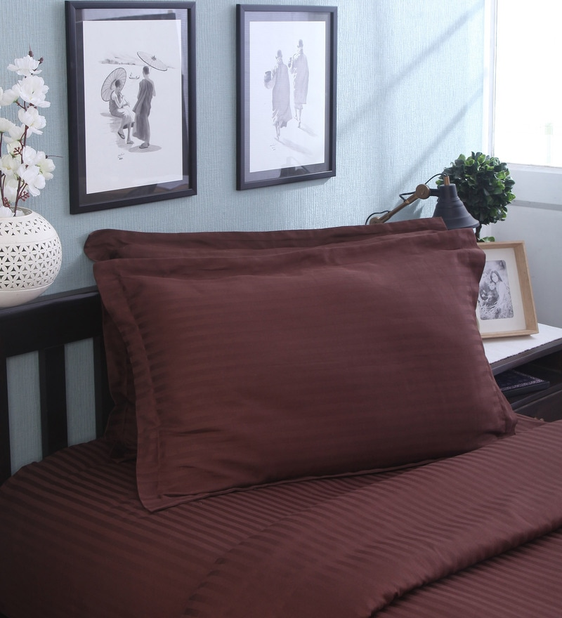 Brown Cotton Pillow Cover - Set of 2 by Mark Home