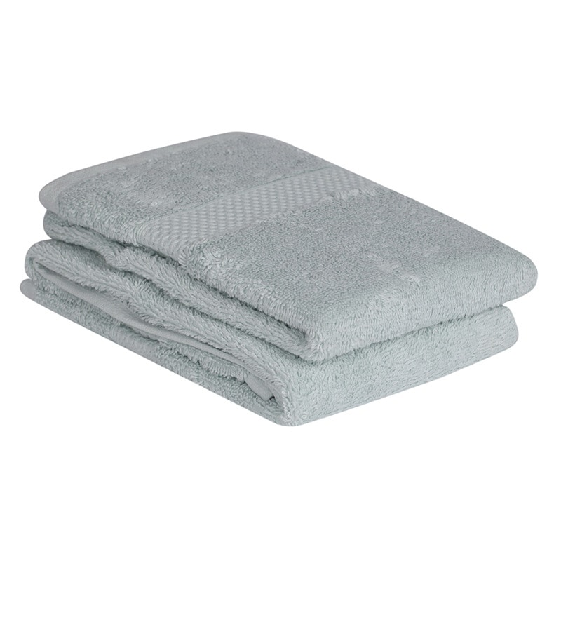 Mint Cotton Hand Towel Premium Set of 2 by Mark Home