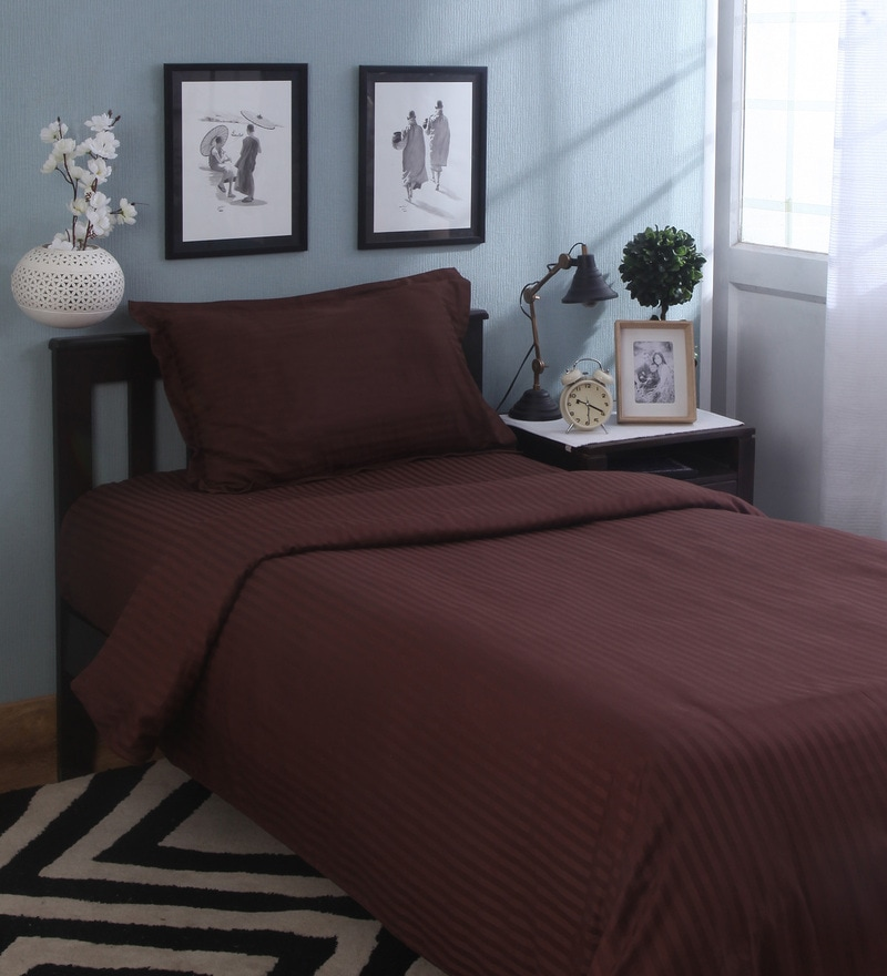 Brown Solids Cotton Single Size Duvet Covers - 1 Pc by Mark Home
