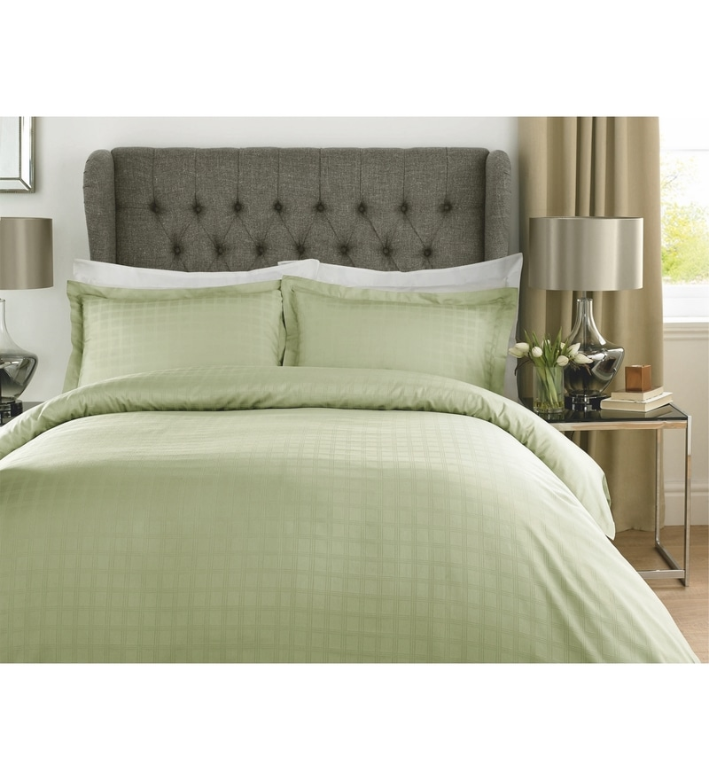 Green Checks Cotton Queen Size Duvet Cover 1 Pc by Mark Home