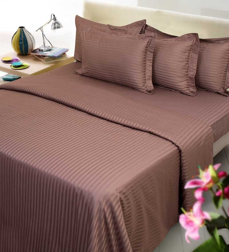 Brown Cotton King Size Bed Sheet - Set of 3 by Mark Home