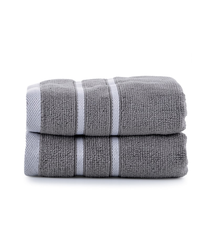 Grey Cotton Simply Soft 16 x 24 Hand Towel - Set of 2 by Mark Home