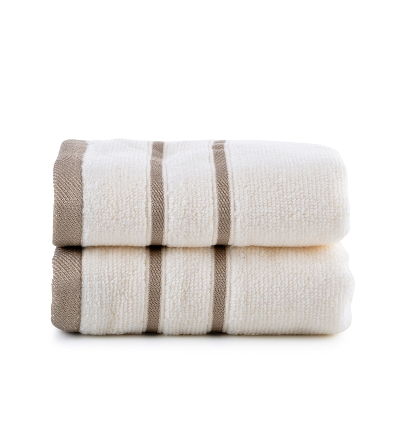Ivory Cotton Simply Soft 16 x 24 Hand Towel - Set of 2 by Mark Home