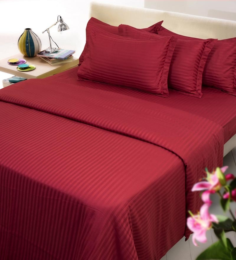 Maroon Solids Cotton Single Size Duvet Covers - 1 Pc by Mark Home