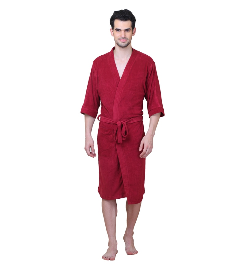 Maroon Cotton XL Size Bath Robe by Mark Home