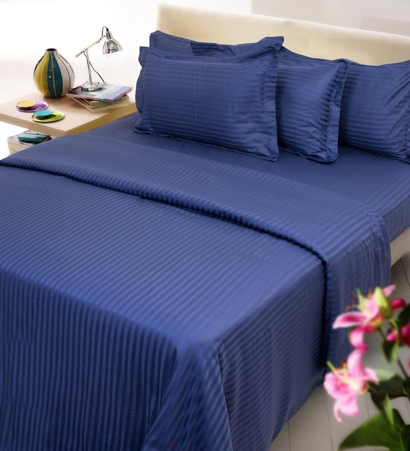 Navy Blue Solids Cotton Queen Size Bedding - Set of 6 by Mark Home