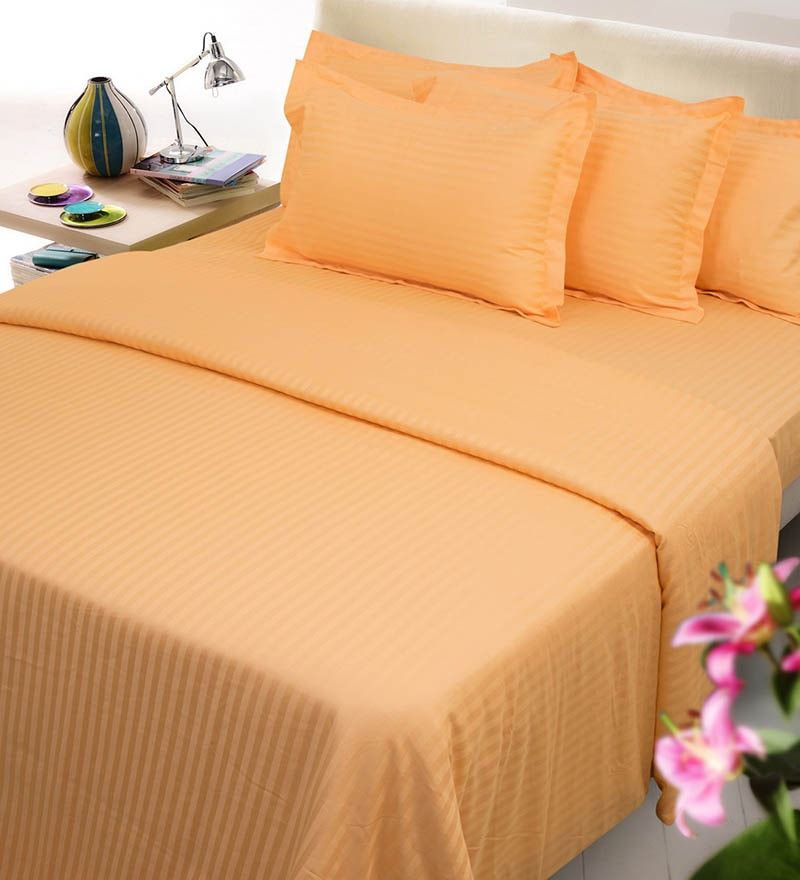 Tangerine Solids Cotton Queen Size Fitted Bed Sheet Set - Set of 3 by Mark Home