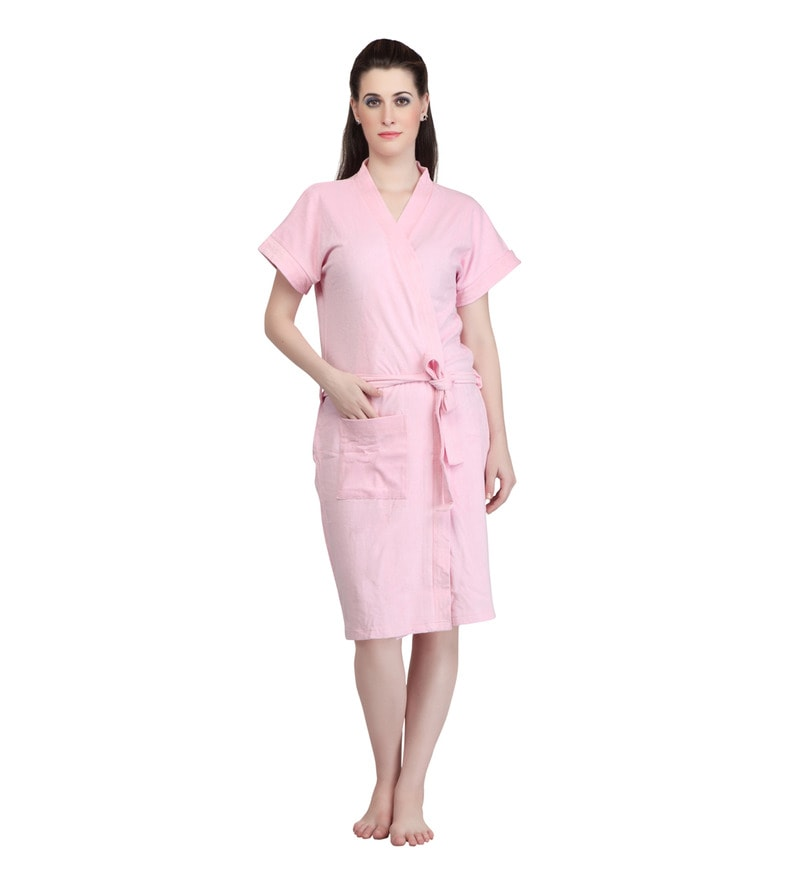 Pink Terry Cotton Bath Robe by Mark Home