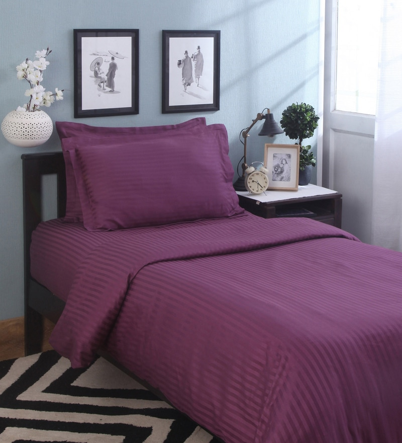 Purple Cotton Single Size Duvet Cover by Mark Home