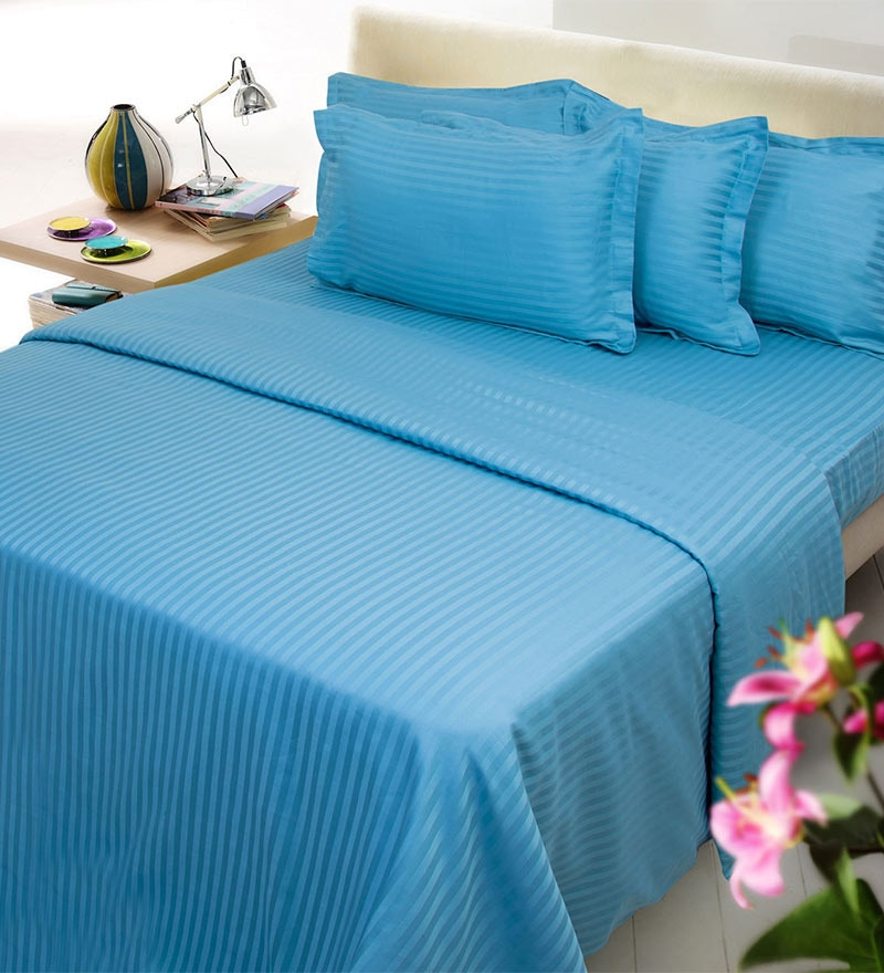 Royal Blue Solids Cotton Single Size Fitted Bed Sheet Set - Set of 4 by Mark Home
