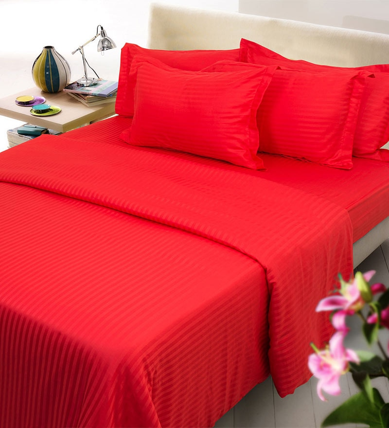Red Cotton Bedding Set - 6 Pieces by Mark Home