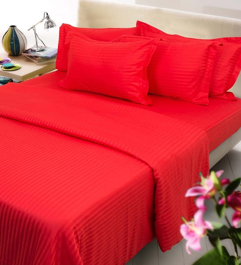 Red Solids Cotton Queen Size Fitted Bed Sheet Set - Set of 3 by Mark Home