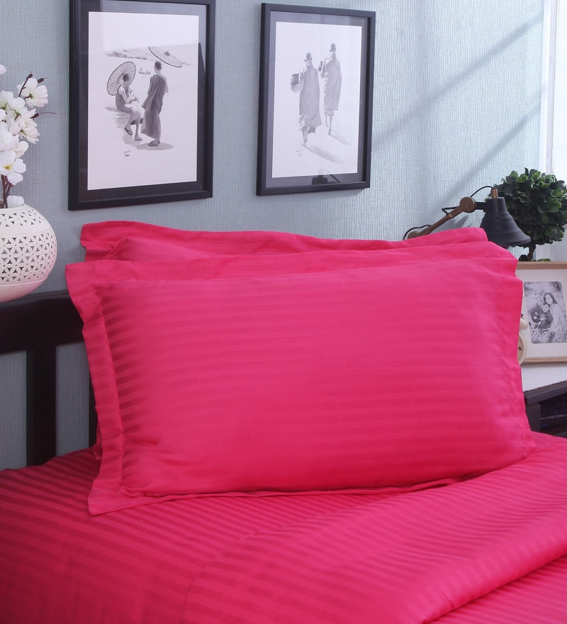 Ribbon Red Cotton Pillow - Set of 2 by Mark Home