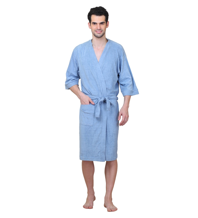 Sky Blue Cotton L Size Bath Robe by Mark Home