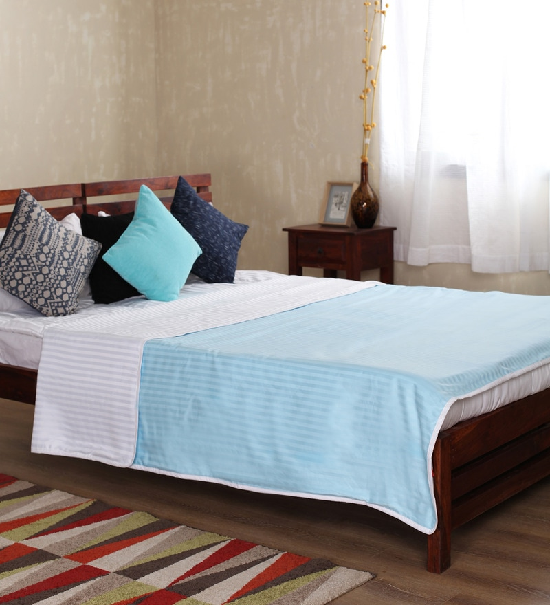 Sky Blue Cotton Solid 100 x 90 Inch Double Bed Dohar by Mark Home