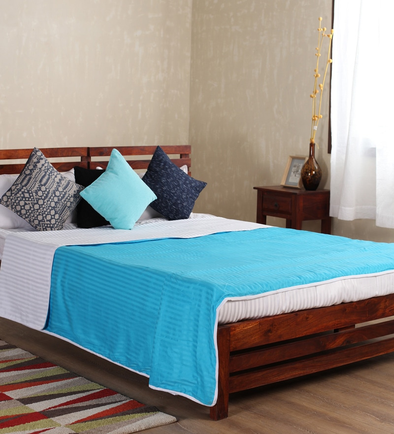 Turquoise Cotton Solid 100 x 90 Inch Double Bed Dohar by Mark Home