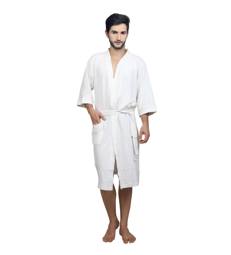 White Terry Cotton XL Bath Robe by Mark Home